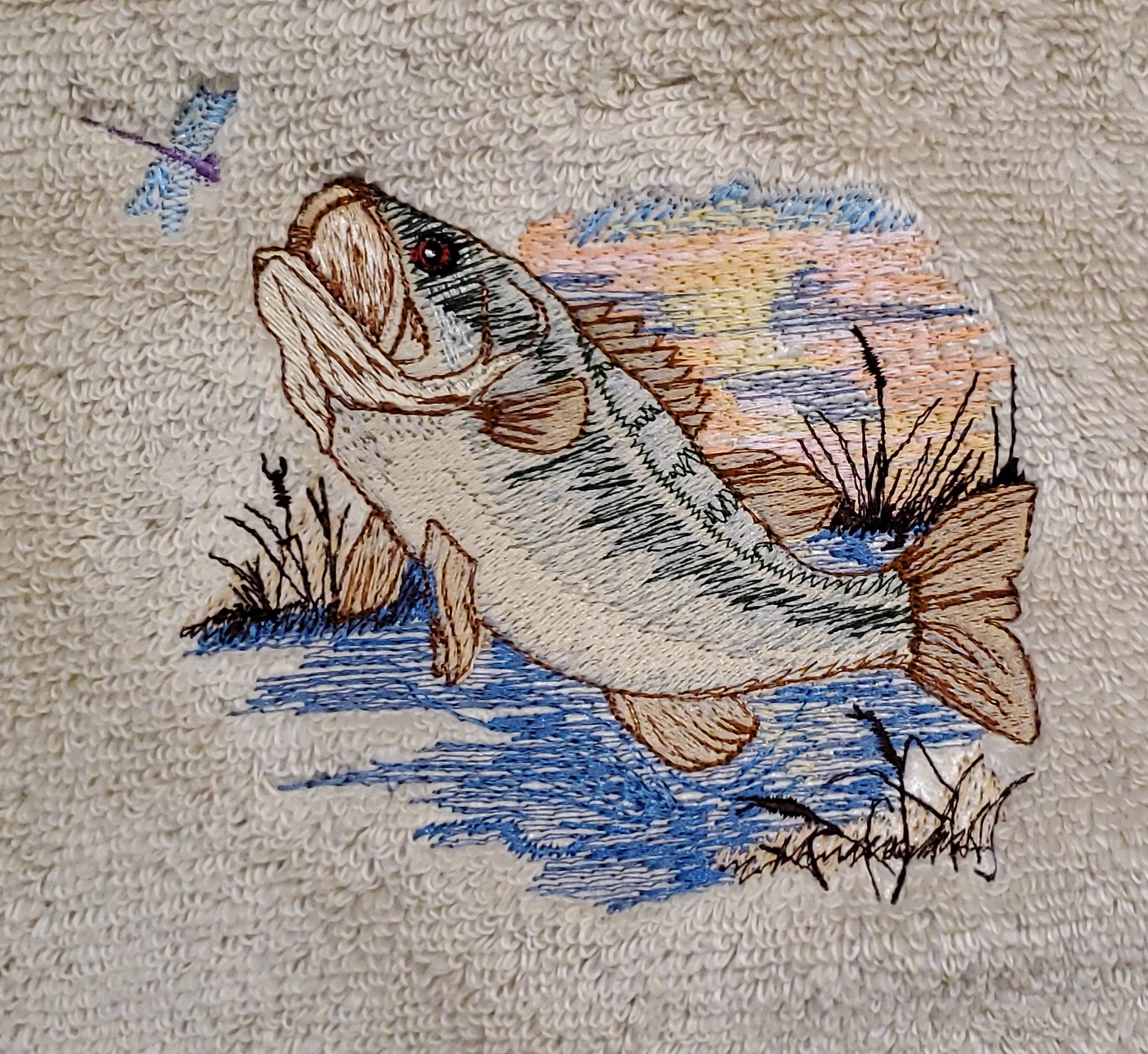 Large Mouth Bass Embroidered Bath Towels