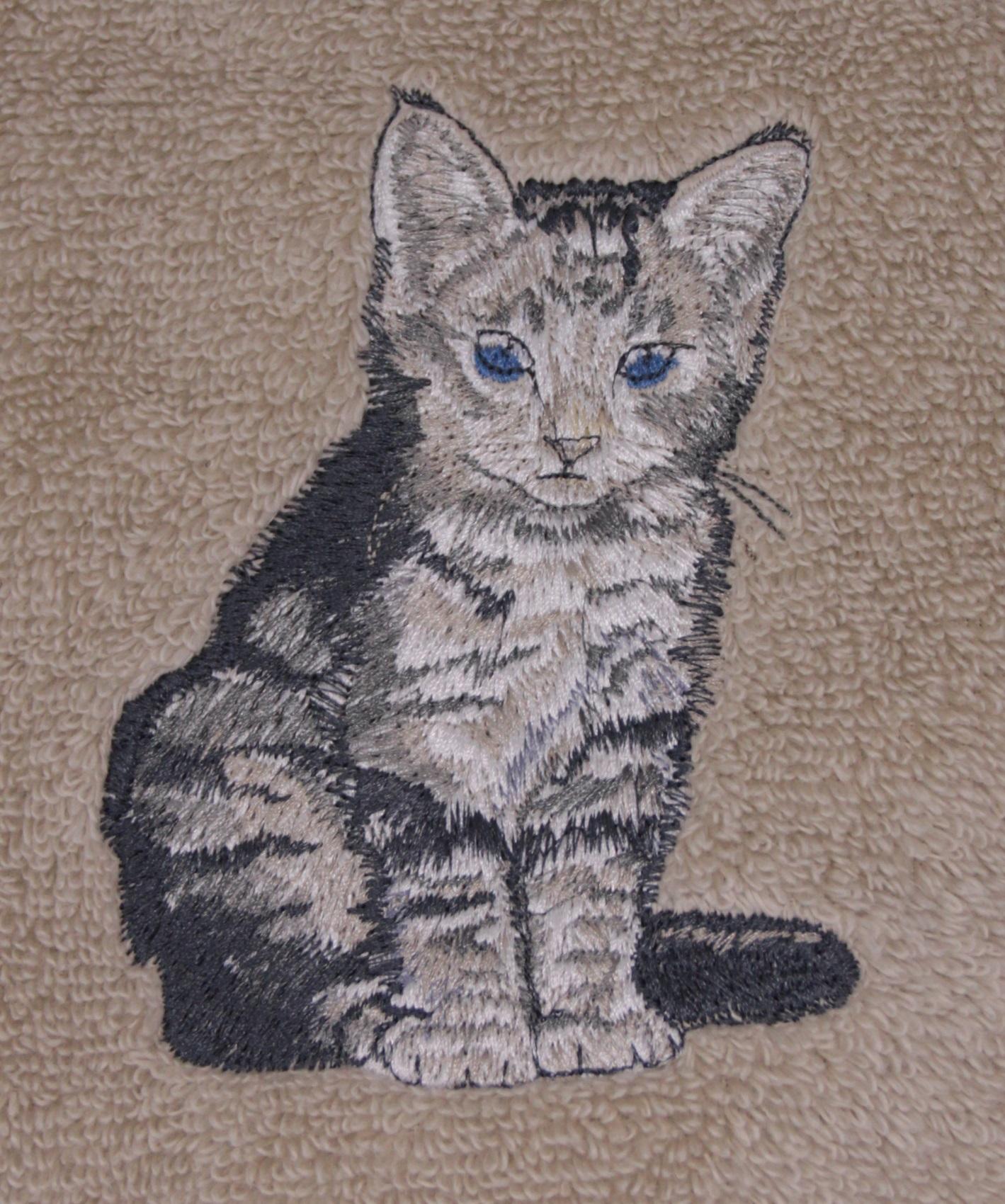 Tiger-stripe Sitting Cat Embroidered Bath Towels