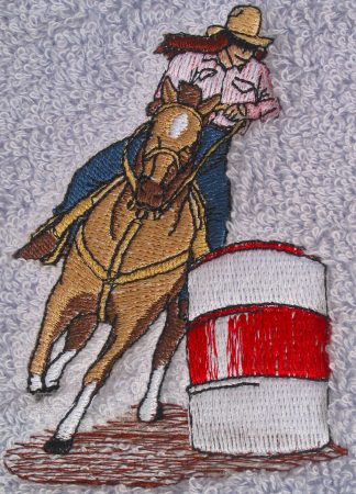 Female barrel racer horse bath towels