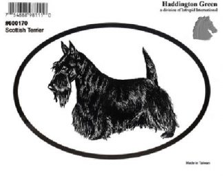 Haddington Green Black/White Scottish Terrier Dog Oval Decal