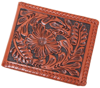 Brown Western Tooled Leather Bi-Fold Wallet