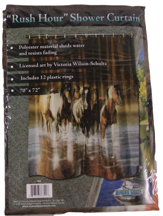 River's Edge Rush Hour Horses Fabric Shower Curtain