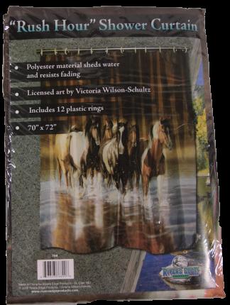 River's Edge Rush Hour Horses Fabric Shower Curtain