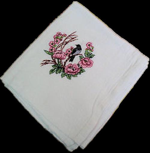 Black Bird Perched on Pink Poppies Flour Sack Dish Towel