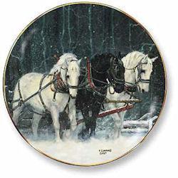 Snowfall Horses Decorative Plate