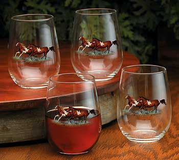 Horses Stemless Wine Glass