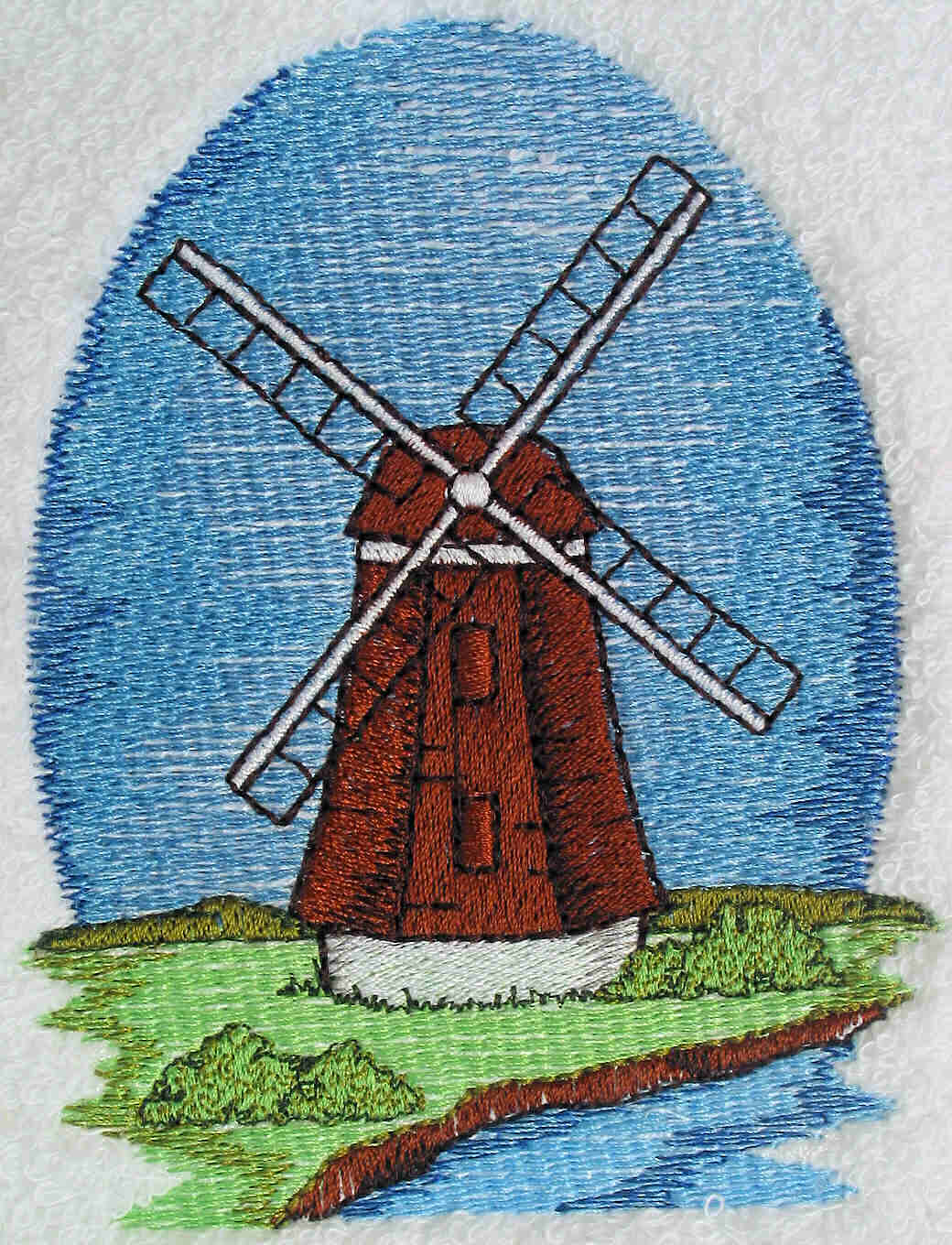 Dutch Country Windmill Embroidered Towels