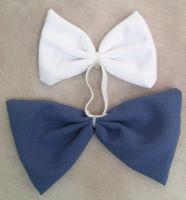 Mini Tail Bow White & Blue