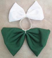 Mini Tail Bow White & Green