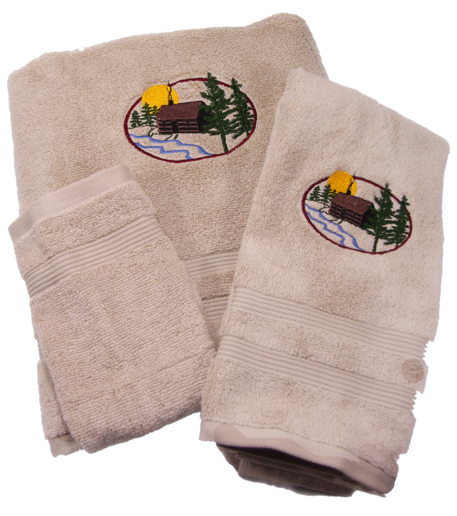 Embroidered log cabin in the woods on cotton bath Towel