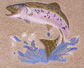 Jumping Trout - Fish on Embroidered Bath Towels - Wash, Hand, Bath