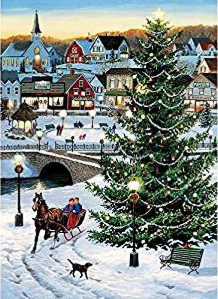 Village Tree Christmas Tree and Sleigh 1000 Piece Puzzle