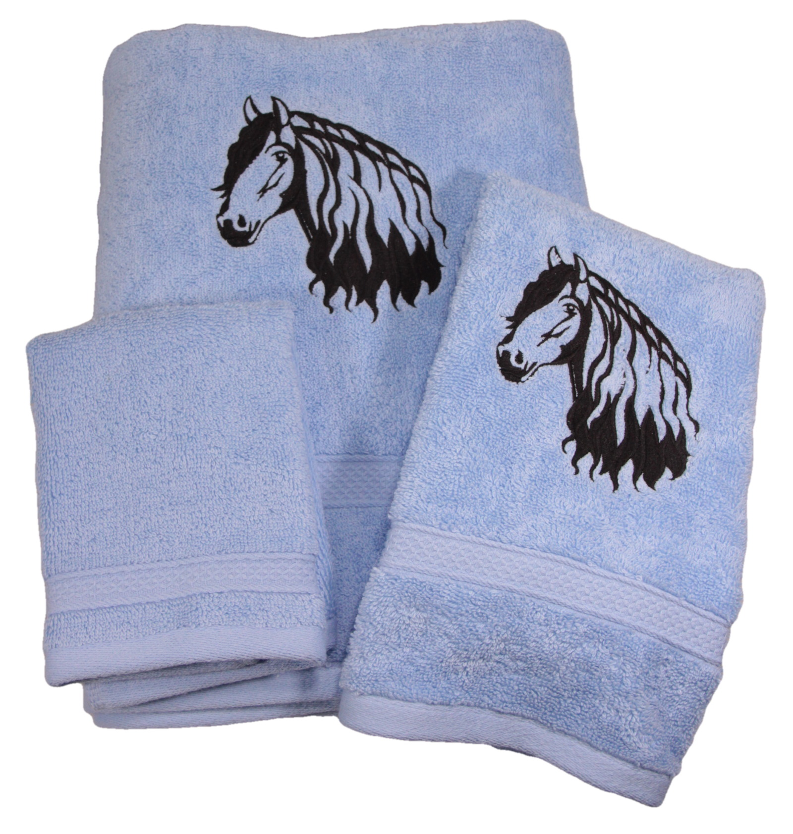 Friesian Horse Head Outline Embroidered Bath Towels