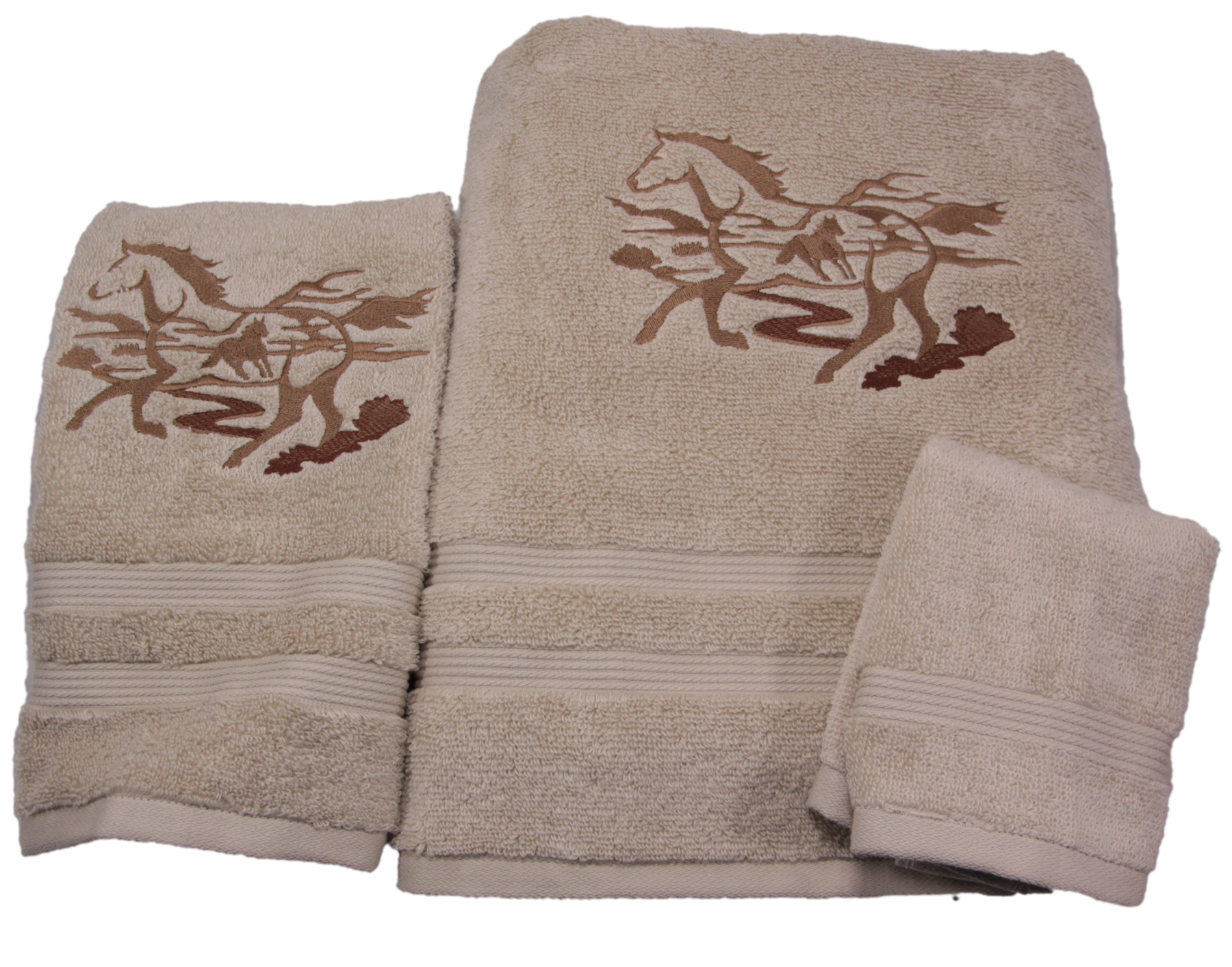 Running Wild Horse Silhouette Embroidered Bath Towels