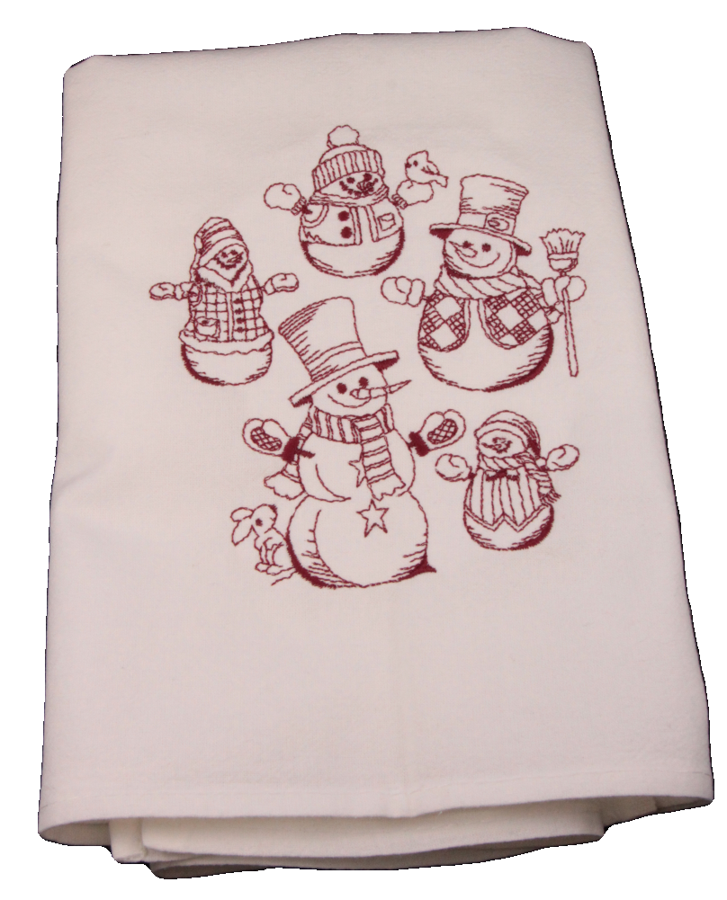 Snowman Collage Dish Towel
