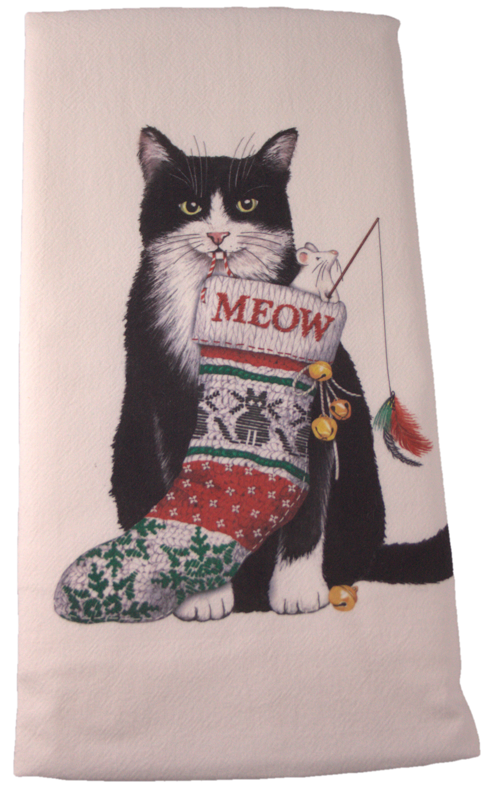 Tuxedo Cat Christmas Flour Sack Dish Towel