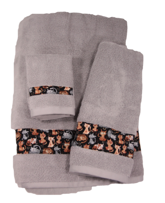 Three Piece Towel Set - Playful Cats Fabric Border