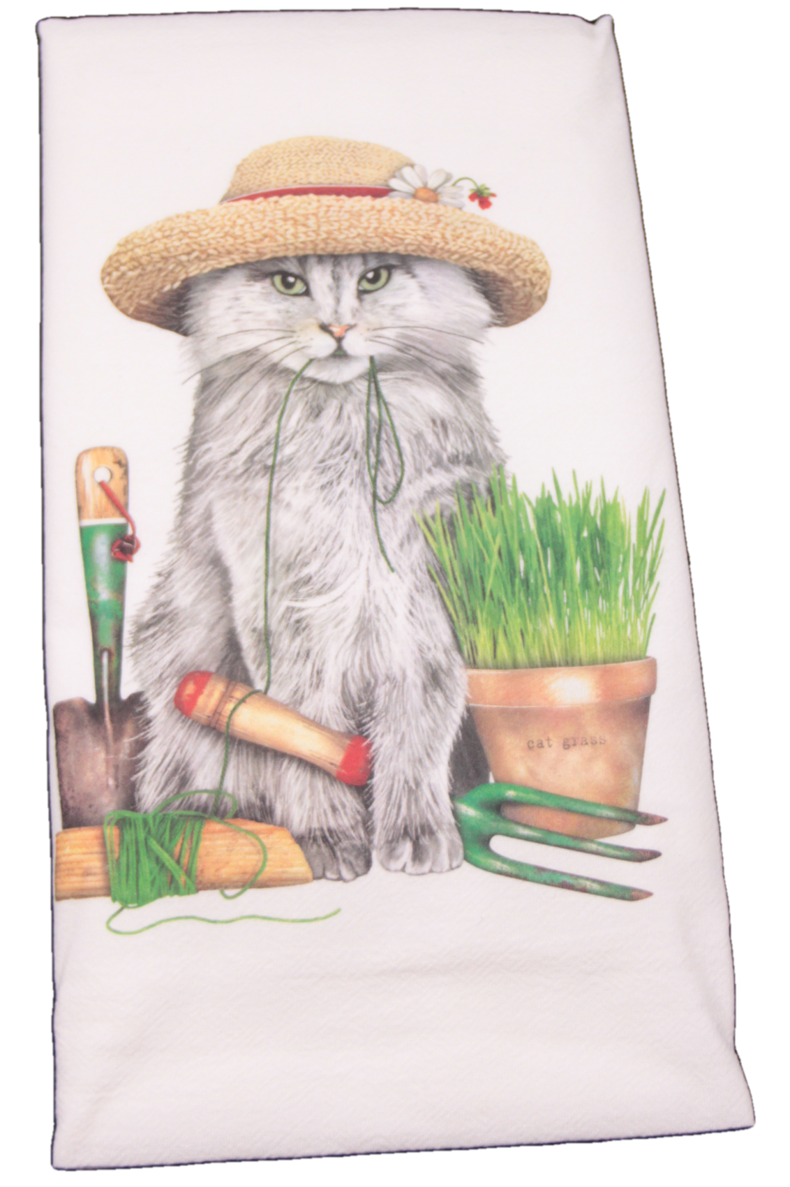 Gray Garden Cat with Hat Printed Flour Sack Dish Towel