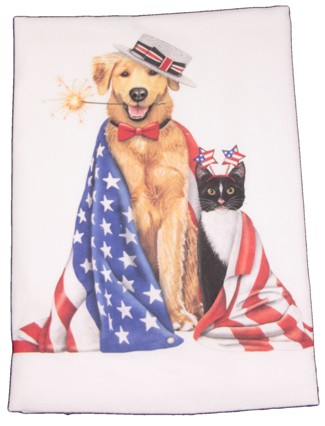 Mary Lake-Thompson Cat and Dog with Flags Flour Sack Dish Towel