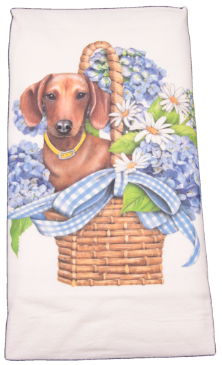 Mary Lake-Thompson Doxie Basket Flour Sack Dish Towel