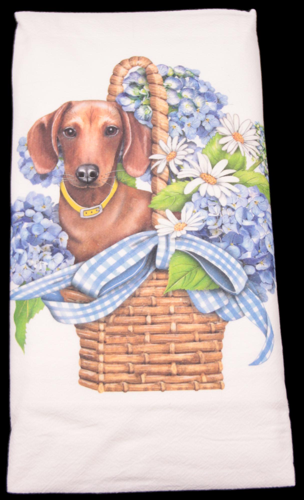 Mary Lake-Thompson Doxie Basket Flour Sack Dish Towel