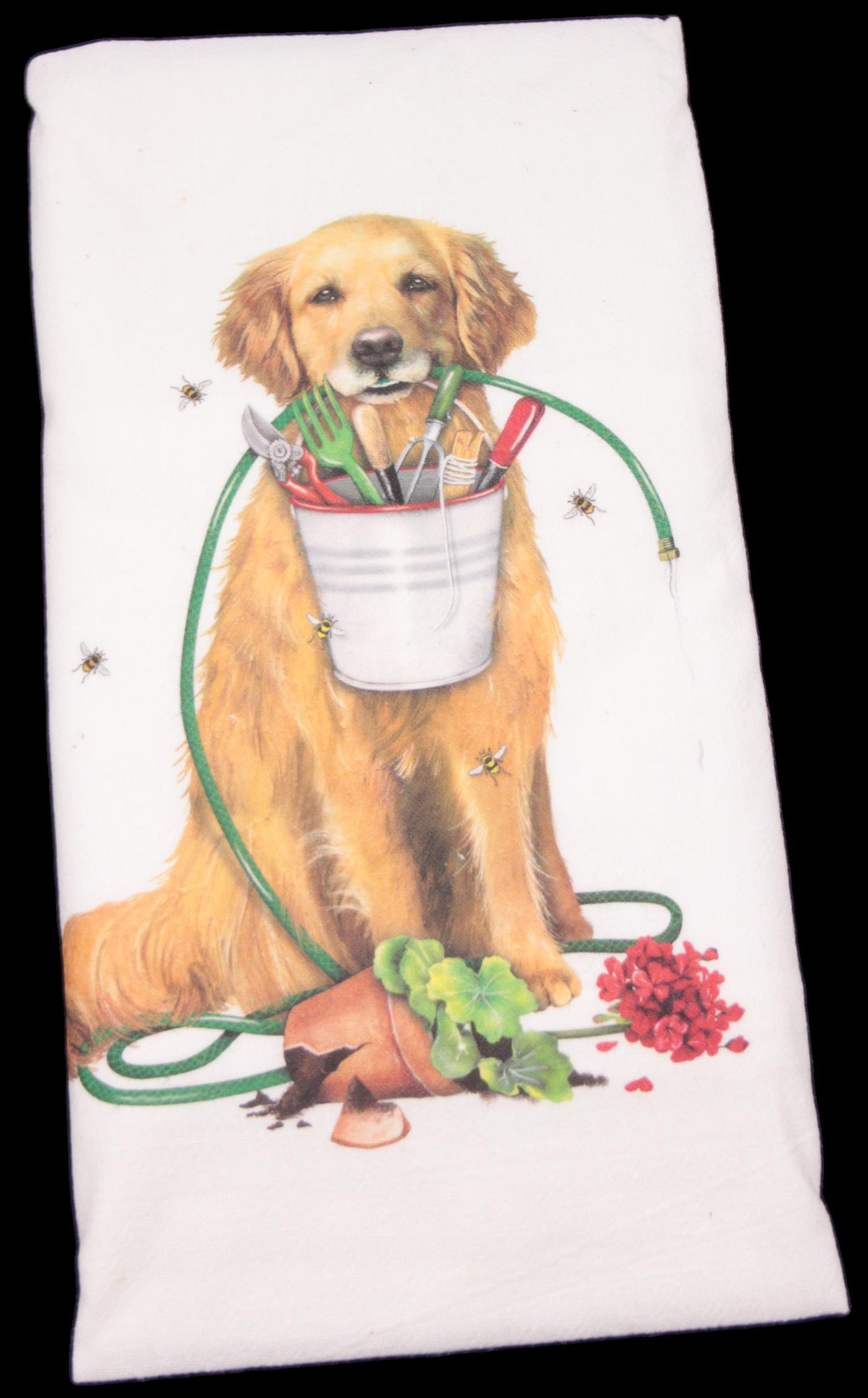 Mary Lake-Thompson Golden Retriever Garden Flour Sack Dish Towel. This printed flour sack dish towel is 100% white cotton. The actual size 30 X 30 inches.