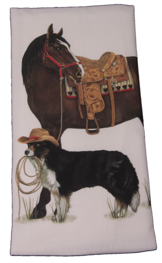 Mary Lake-Thompson Ranch Horse and Dog Flour Sack Dish Towel