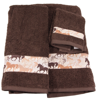 Three Piece Towel Set - Running Horses Fabric Border
