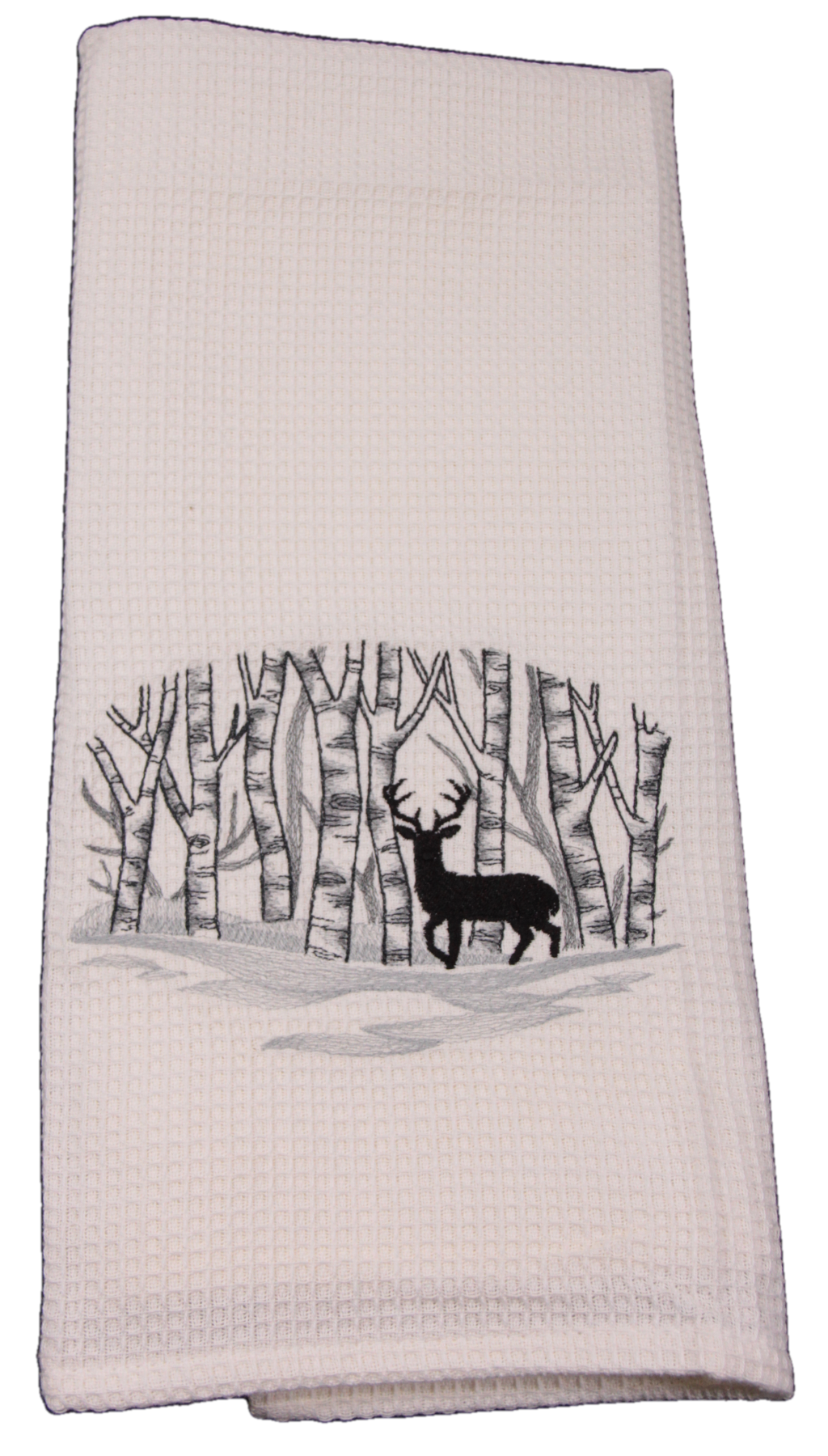 Embroidered White Waffle Weave Dish Towel - Deer in the Woods