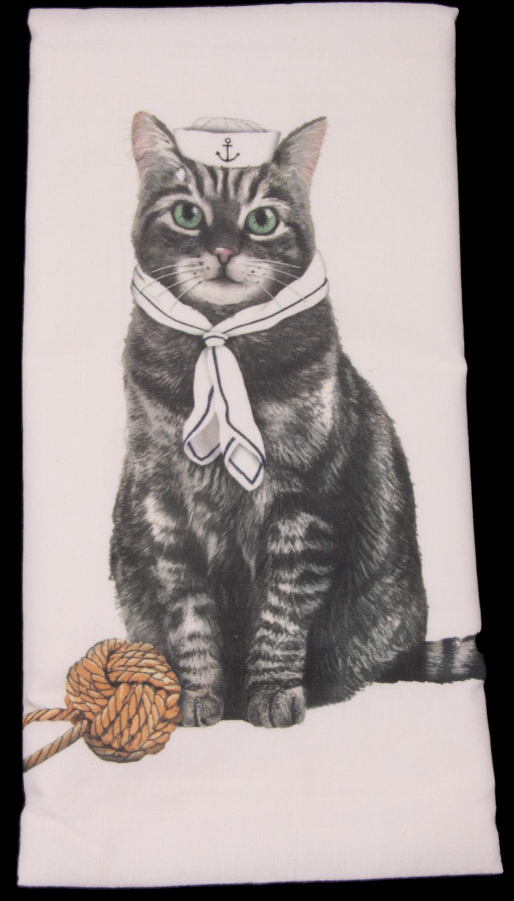 Sailor Gray Tabby Cat Printed Flour Sack Dish Towel
