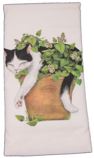 Black and White Cat with Catnip Printed Flour Sack Dish Towel