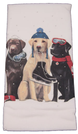 Three Dog Friends Lab Printed Flour Sack Dish Towel