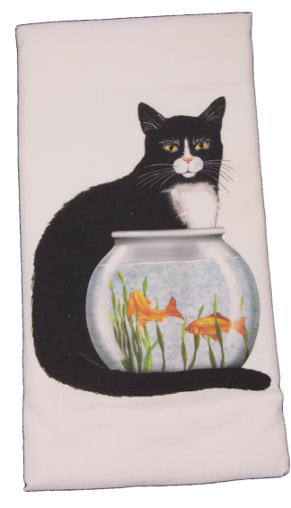 Black and White Cat with Fish Bowl Printed Flour Sack Dish Towel