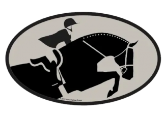 Equestrian Horse and Rider Euro Sticker Oval Decal