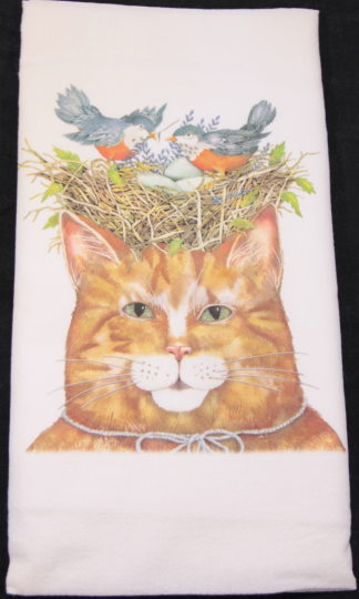 Yellow Cat with Bird's Nest Printed Flour Sack Dish Towel