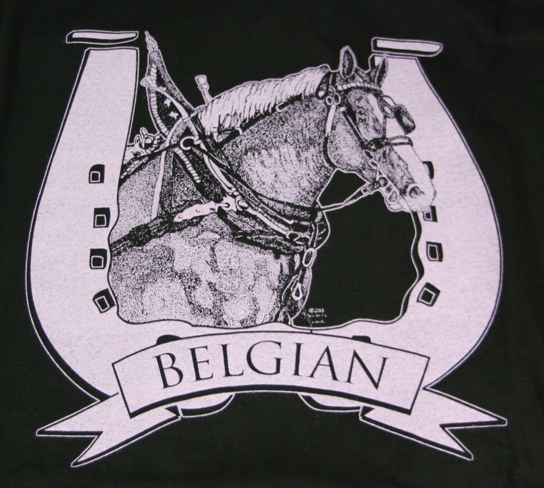 Belgian Draft Horse Head in Harness T-Shirt