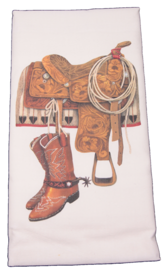 Mary Lake-Thompson Western Saddle and Boots Flour Sack Dish Towel