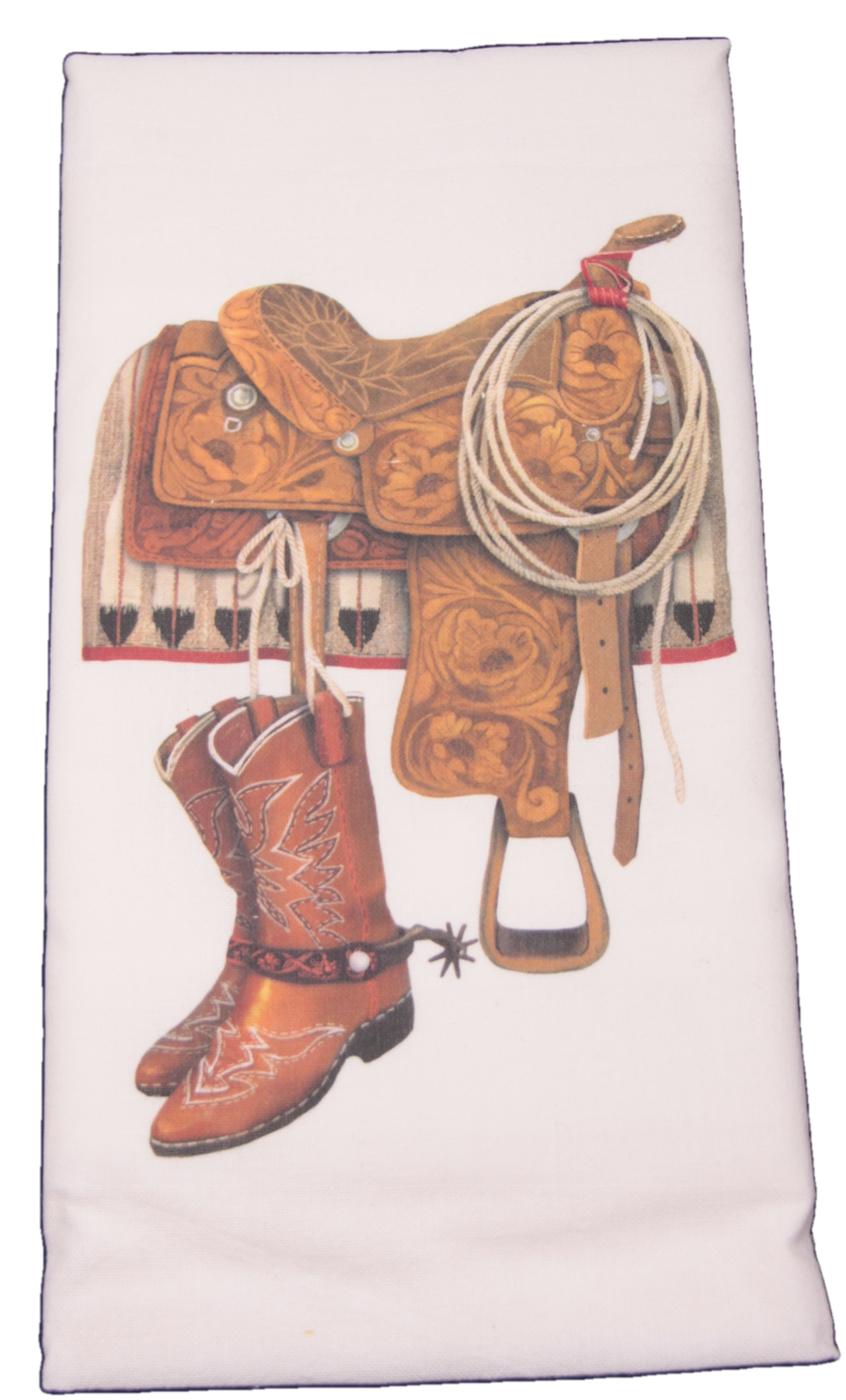 Mary Lake Thompson Western Saddle And Boots Flour Sack Dish Towel