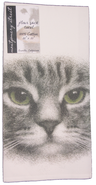 Cat Face with Green Eyes Printed Flour Sack Dish Towel