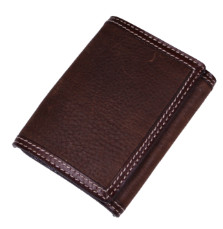 Brown Grain Leather Tri-Fold Wallet