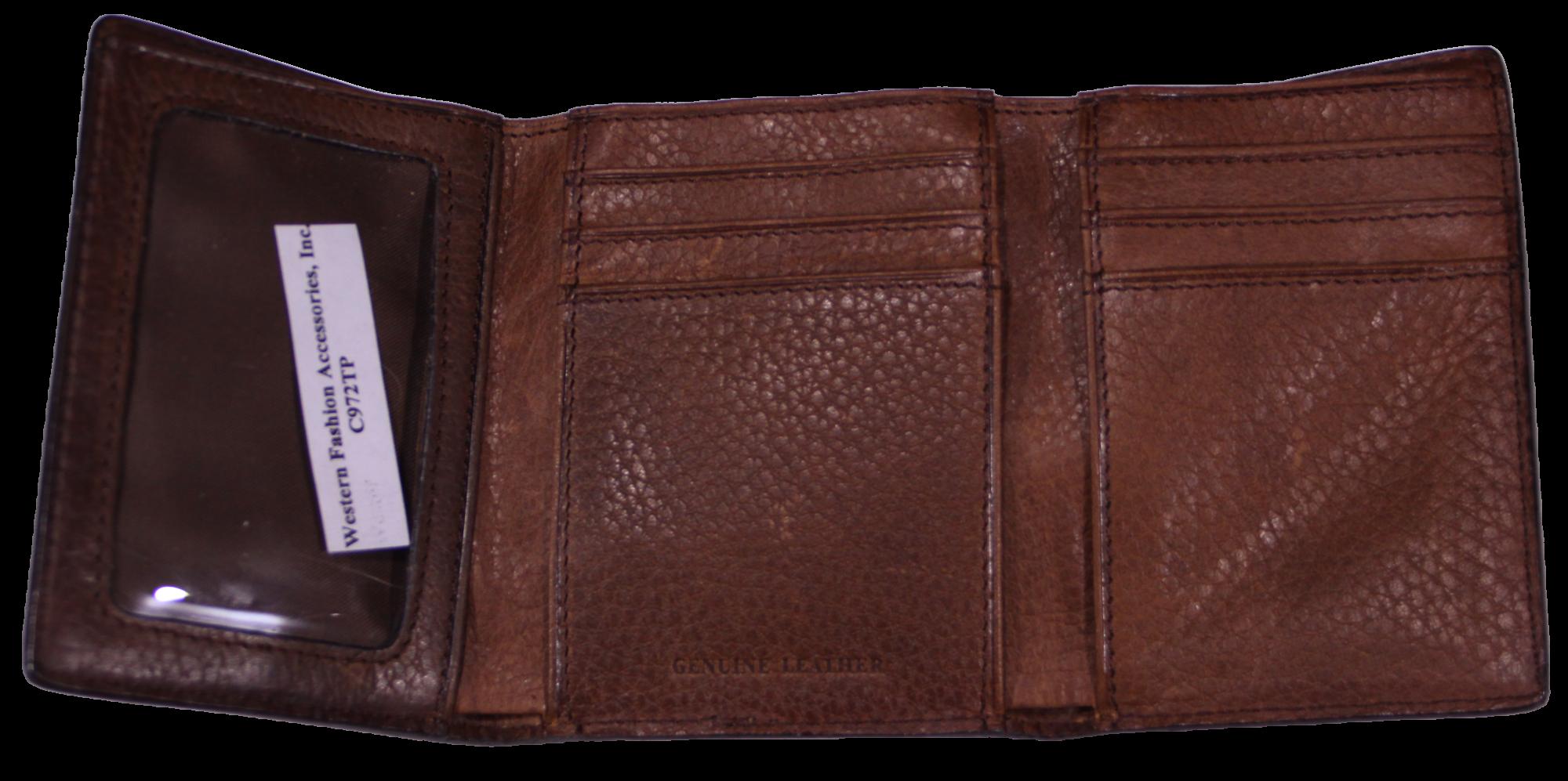 Brown Grain Leather Tri-Fold Wallet