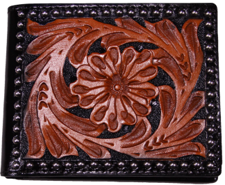 Tooled Western Leather Bi-Fold Wallet