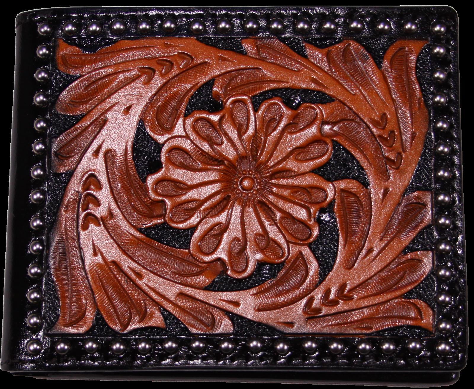 Tooled Western Leather Bi-Fold Wallet