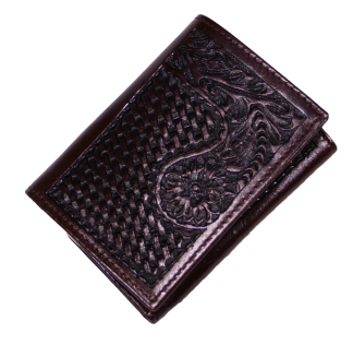 Dark Brown Tooled Leather Tri-Fold Wallet