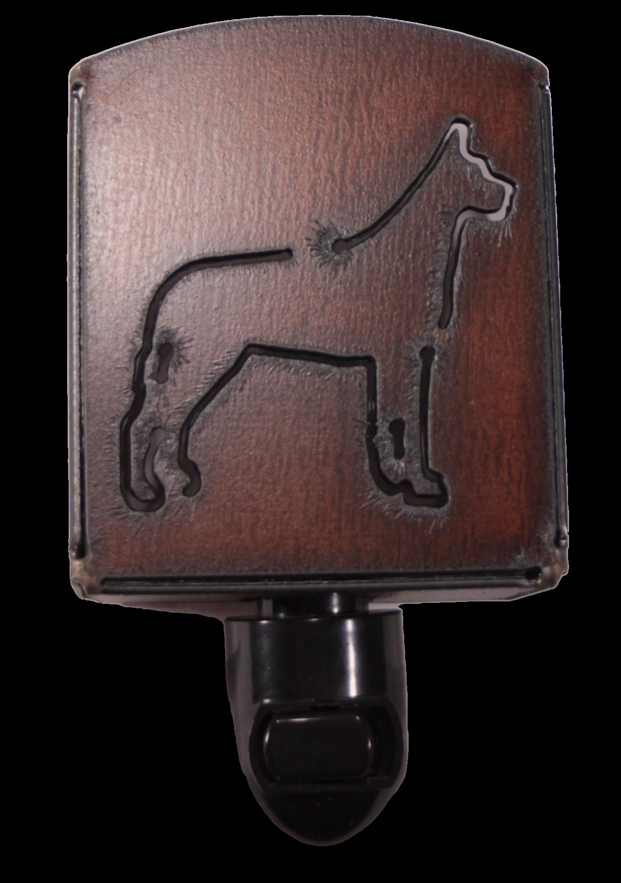 Universal Ironworks Rustic Metal Great Dane Dog Night Light