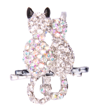Pin Art Rhinestone Two Cats Pin
