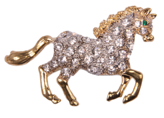 Pin Art Rhinestone Galloping Horse Pin