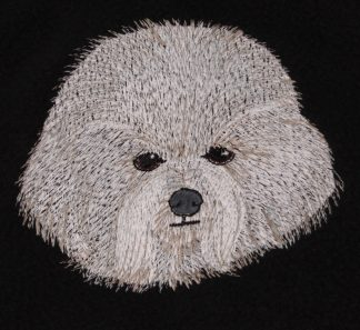 Bichon Dog Face Embroidered Fleece Throw