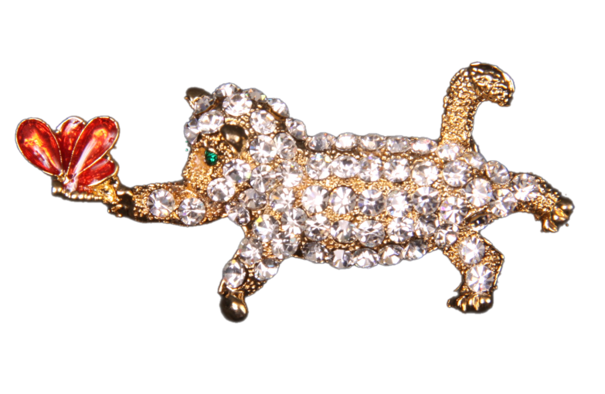 Pin Art Rhinestone Dragonfly Chased by Cat Pin
