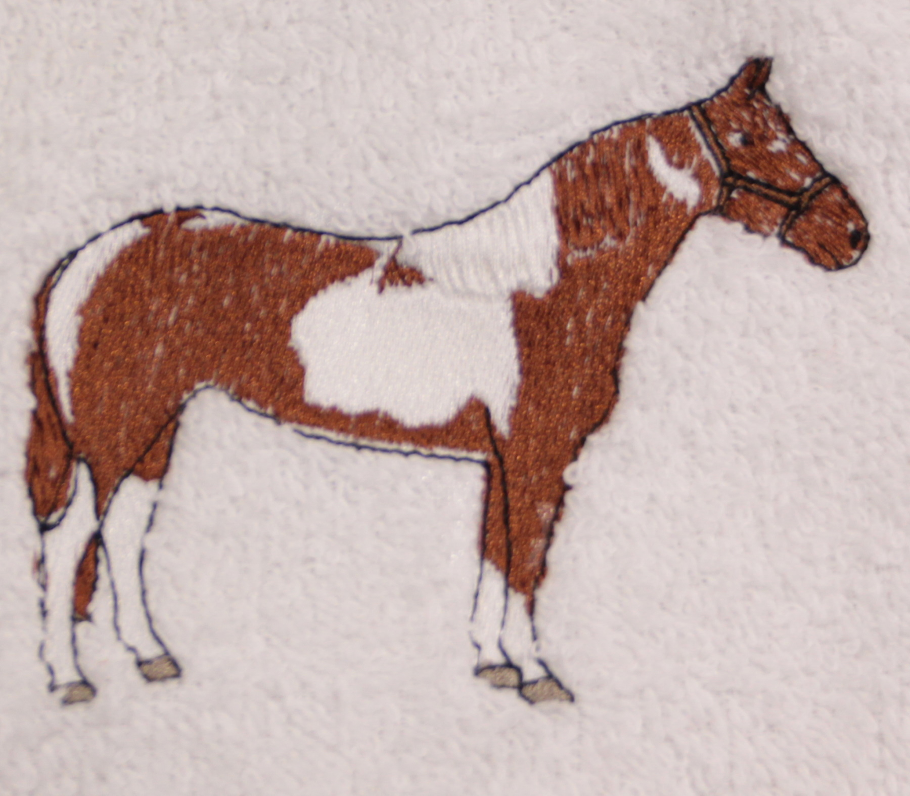 Pinto/paint Standing Horse Embroidered Bath Towels - Wash, Hand, Bath